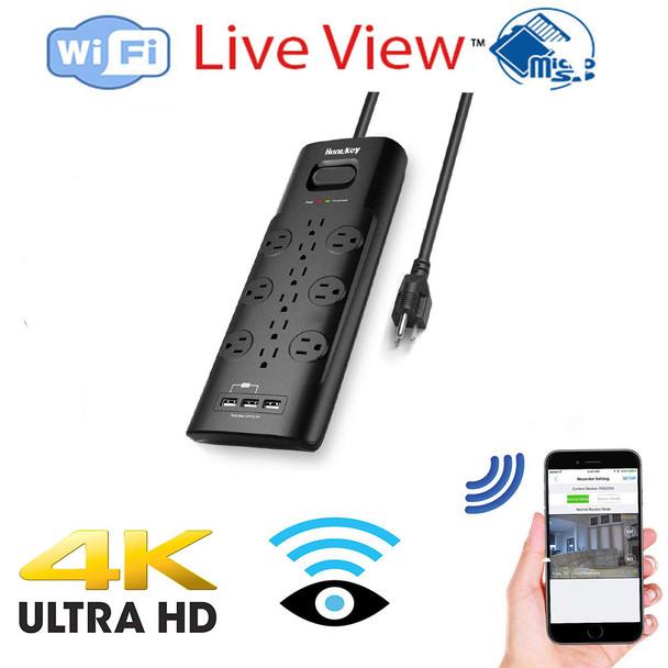 UHD 4k WiFi Surge Protector USB Tap Hidden Spy Camera W/ Live View WiFi + Dvr