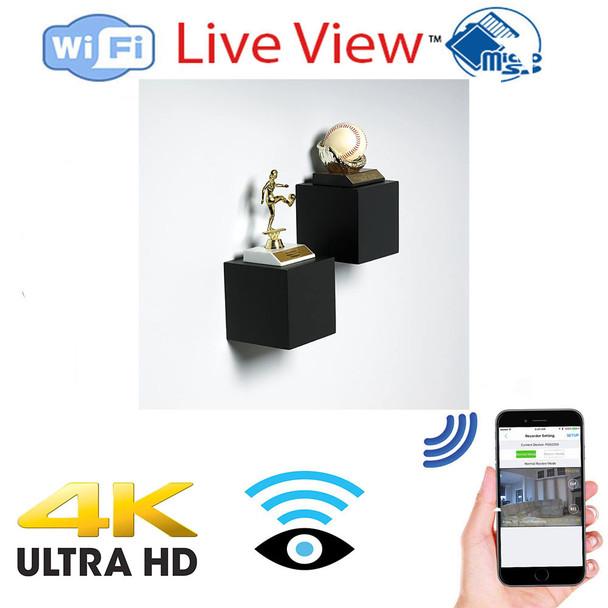 UHD 4k WiFI Decorative Shelf Battery Powered  20 Hrs Hidden Spy Camera  W/ Live View WiFi + Dvr