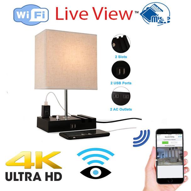 UHD 4k WiFI P2P Lamp USB Charging Station Bedside Hidden Spy Camera W/ Live View WiFi + Dvr