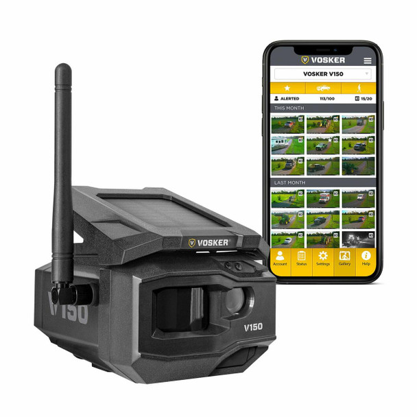 Vosker TE Cellular Security Camera, No WiFi Needed   Solar-Powered Wireless Outdoor Surveillance Camera   Receive Photos on Your Mobile App from Virtually Anywhere   Weather-Resistant IP65