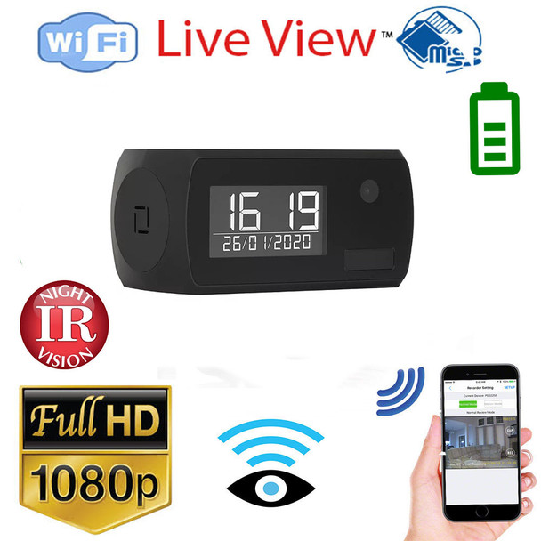 Clock WiFi Hidden Spy Camera With Night Vision and 365 Day Battery