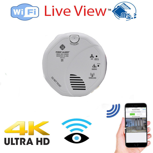 4K UHD WiFi Smoke Detector Nanny Security Camera Functioning Smoke Detector (Bottom View) - Wireless Security Camera with Remotely Monitoring- Includes 128 Gig Memory (Hard Wired)