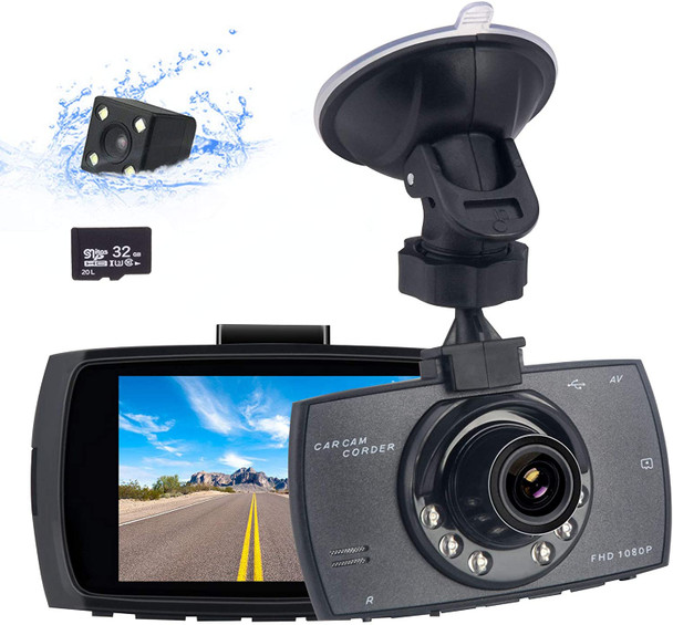Dual Dash Cam for Cars Front and Rear with Infrared Night Vision 1080P FHD Mini in Car Camera 170° Wide Angle Driving Recorder with G-Sensor, Parking Monitor, Loop Recording, DVR