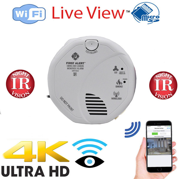 4K UHD Wi-Fi Hardwired Smoke Detector Security Camera With Night Vision