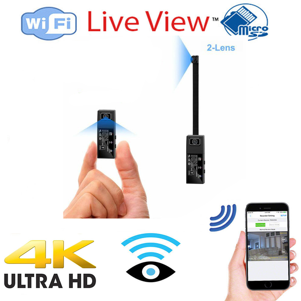 4K UHD Wide Angle Dual Lens Mini WIFI Security Camera With Wide Angle Extension Lens