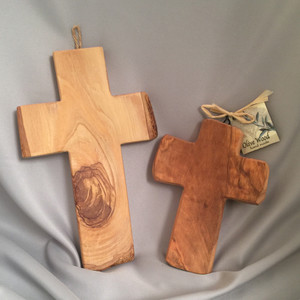 "8"" and 6"" olive wood crosses"