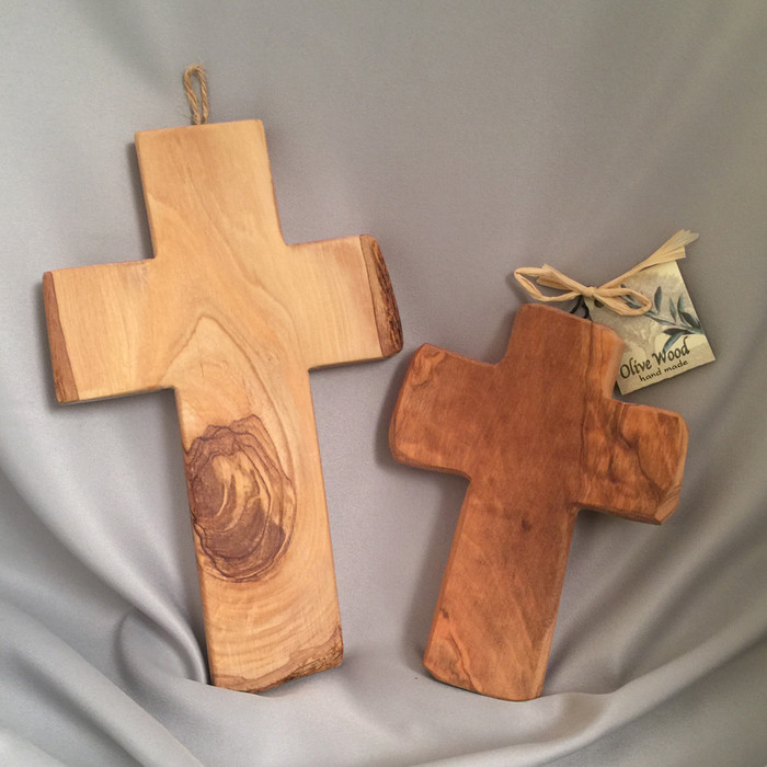"""8"""" and 6"""" olive wood crosses"""