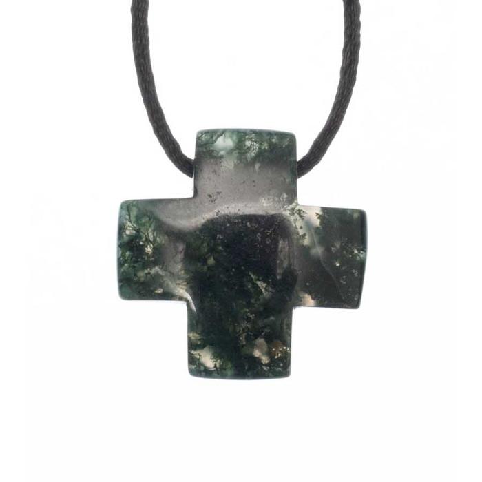 Moss Agate Cross Pendant
