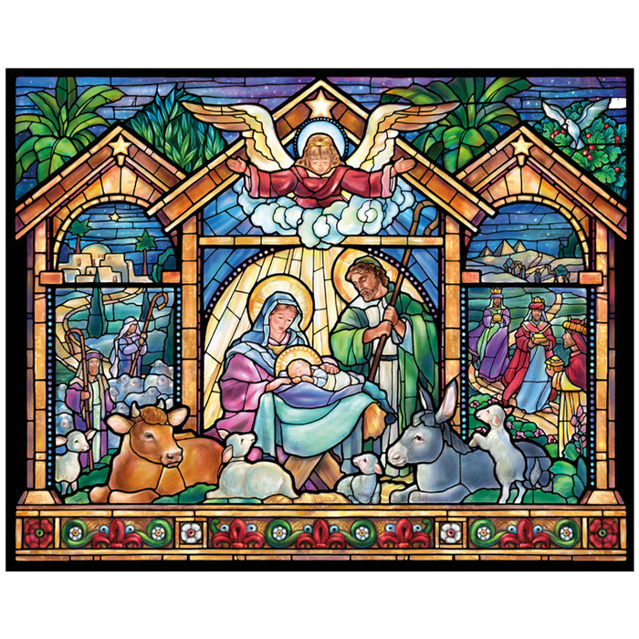 """Jigsaw Puzzle """"Stained Glass Nativity"""""""
