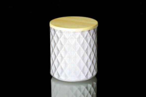 8 oz Matte White Textured Matte Jar W/Lid