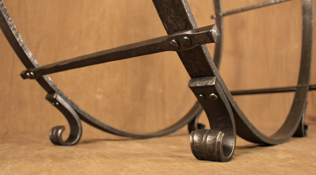 wrought iron half round log rack