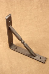 Wrought iron square bar gusset shelf bracket - mid-ball