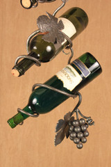 Wrought iron wine chain grape cluster - with hanging wine bottle chain (detail)