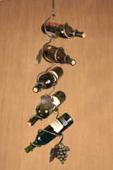 Wrought iron wine chain grape cluster - with hanging wine bottle chain