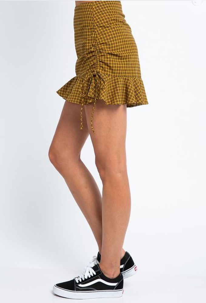 CALIstyle Golden Romance Skirt In Plaid Mustard