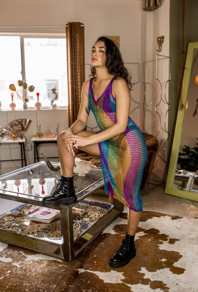 CALIstyle Glam Metallic Crochet Midi Dress In Multi