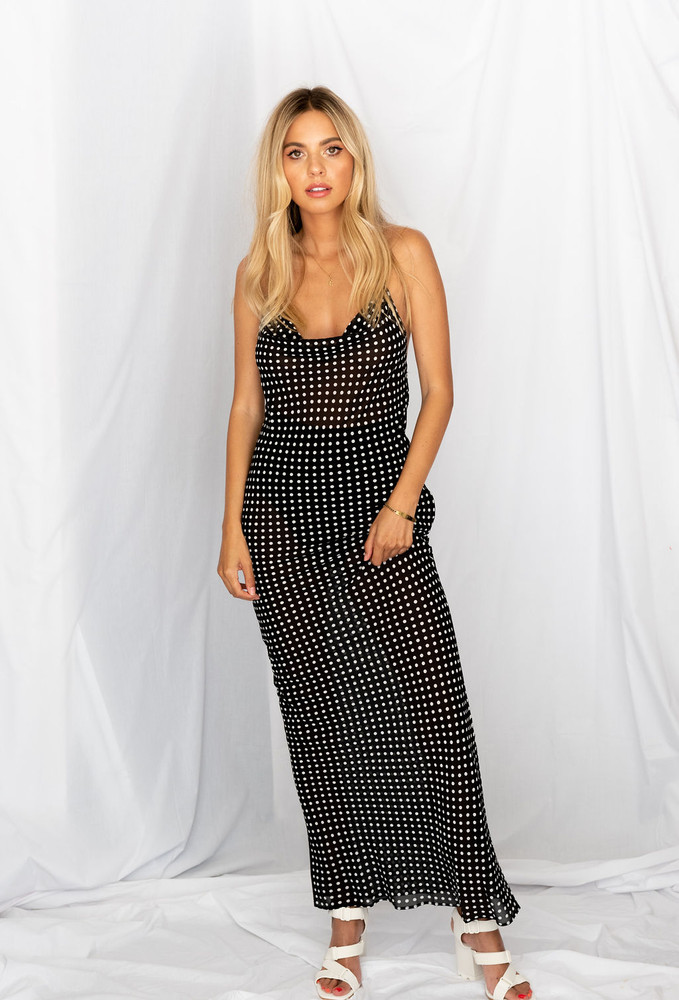 CALIstyle Midnight At The Oasis Slip Dress In Black Polka Dot