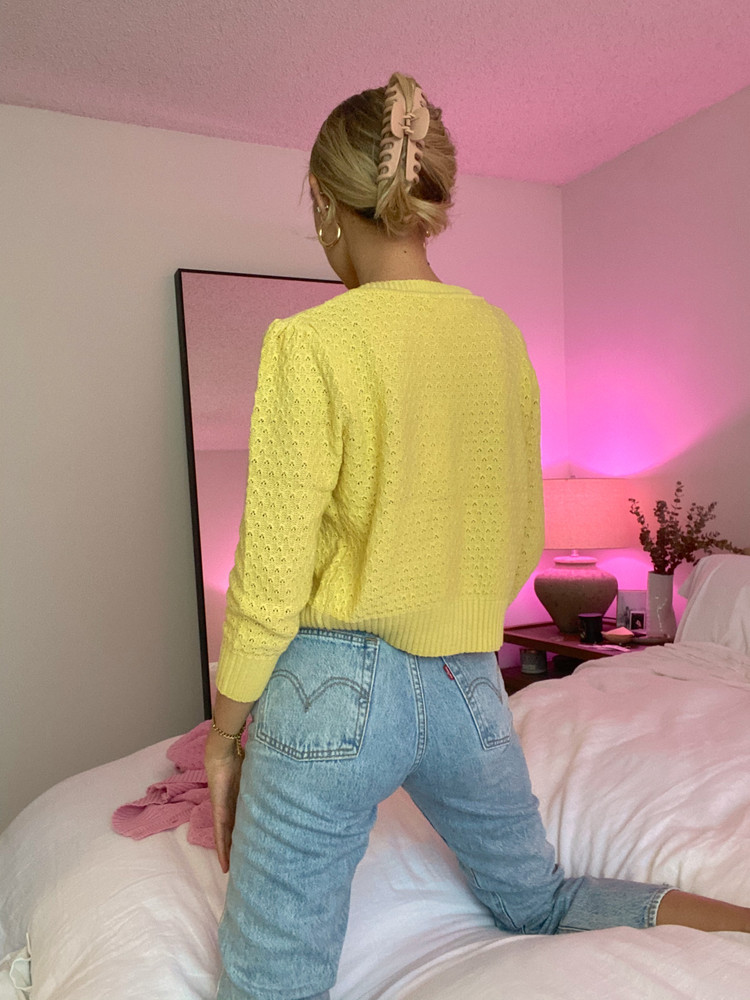 CALIstyle Sunshine On A Cloudy Day Crop Cardigan in Yellow