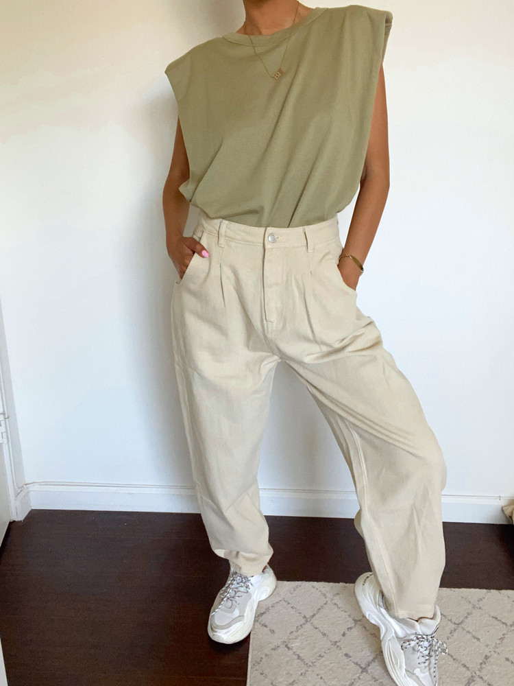 CALIstyle 90's Baby High Rise Slouchy Jeans In Ecru