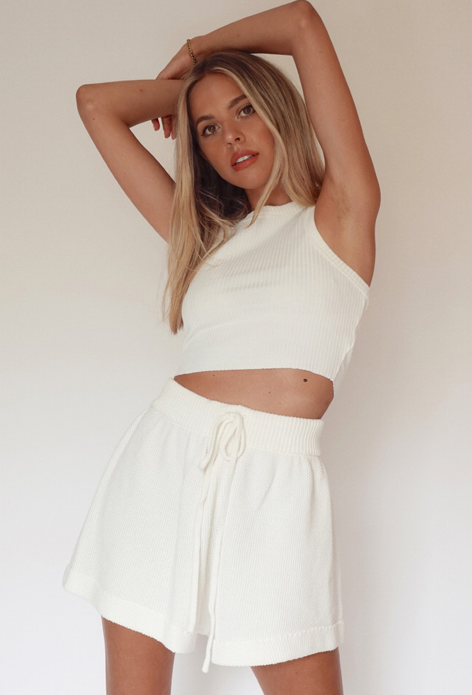 CALIstyle Date Night Crop Tank In White