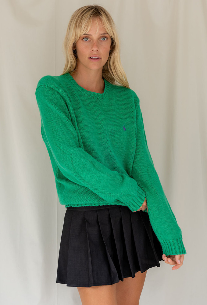 Vintage x Resurrection Polo Pullover Sweater In Green