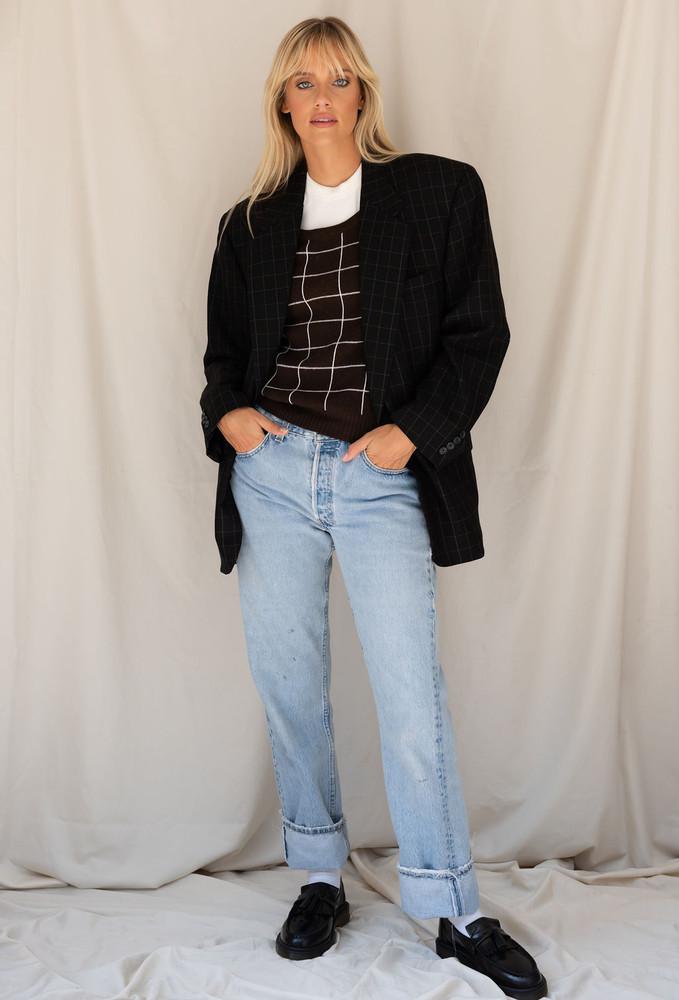Vintage x Resurrection Menswear Blazer In Black Pinstripe