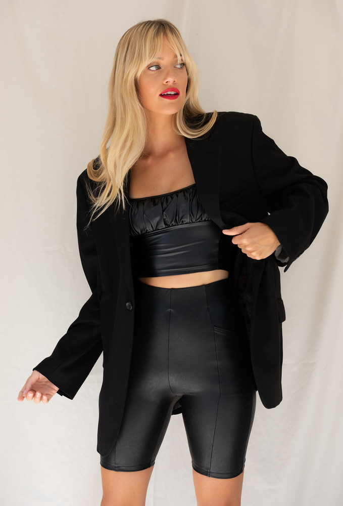 CALIstyle Midnight Rider Leather Biker Short In Black worn with the matching cami and Vintage x Resurrection Blazer