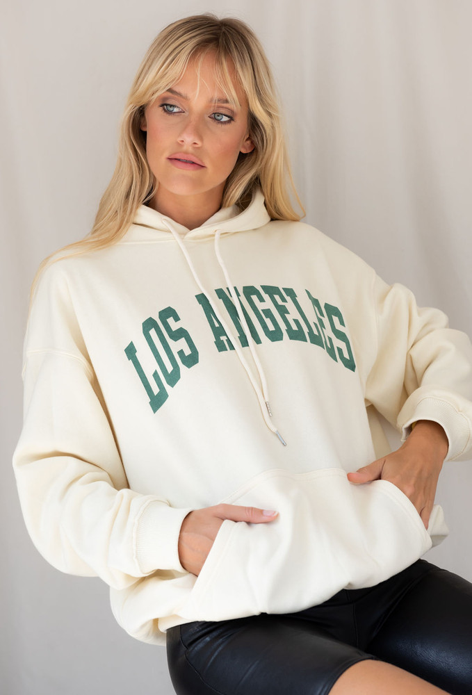 CALIstyle Los Angeles Dreamin' Hooded Sweatshirt In Butter Cream