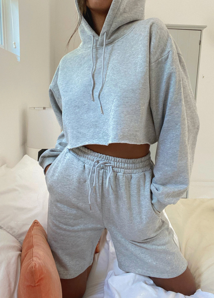 CALIstyle Never Take It Off Pullover Crop Hoodie In Heather