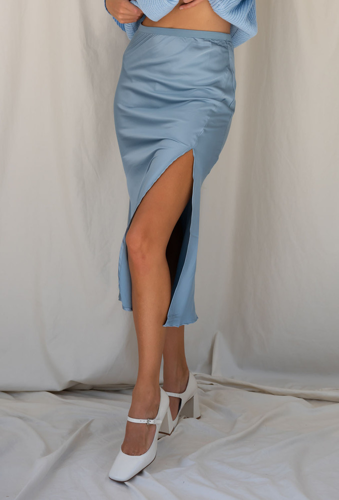 CALIstyle French Cafe Satin Midi Skirt In Blue