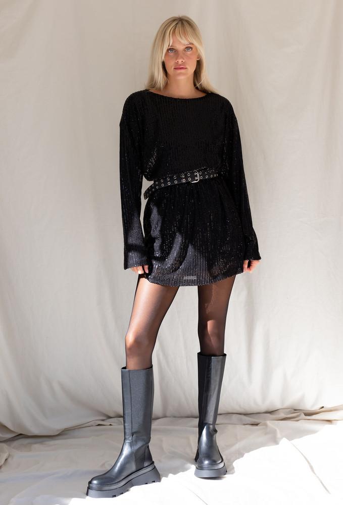 Motel Liama Dress In Draped In Sequin Black