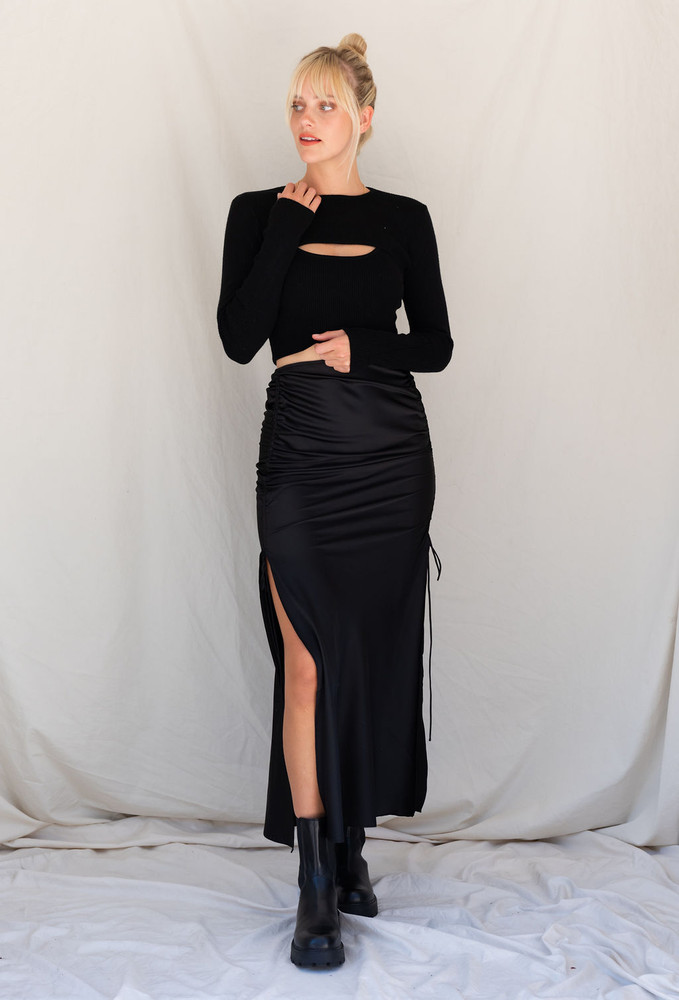 CALIstyle City Moves Ruched Satin Maxi Skirt In Black