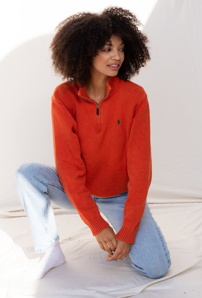 Vintage x Resurrection Polo Zip Front Oversized Sweater In Burnt Orange