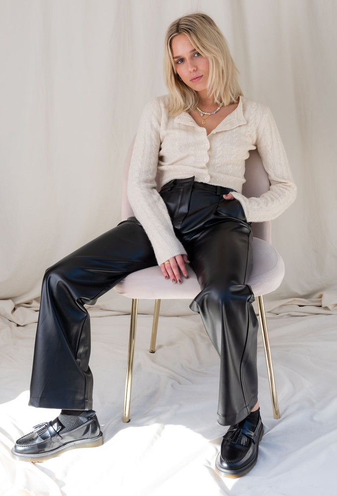 CALIstyle Fashion Icon Vegan Leather Trouser In Black