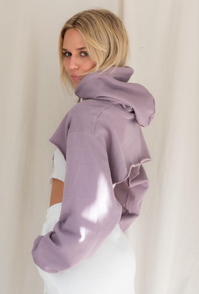 CALIstyle Modern Girl Micro Crop Hoodie In Lavender