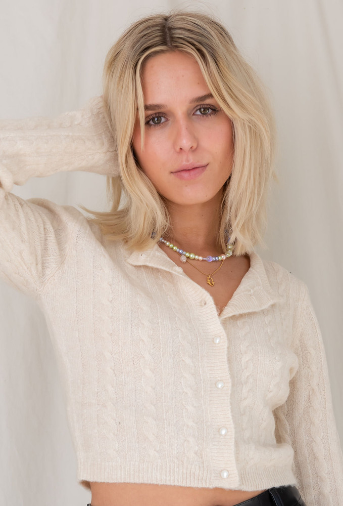 CALIstyle You've Got Our Heart Cardigan With Pearl Button In Cream