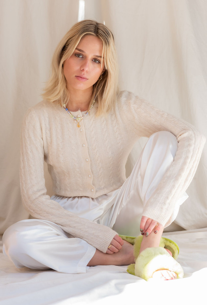 CALIstyle You've Got Our Heart Cardigan With Peal Button In Cream