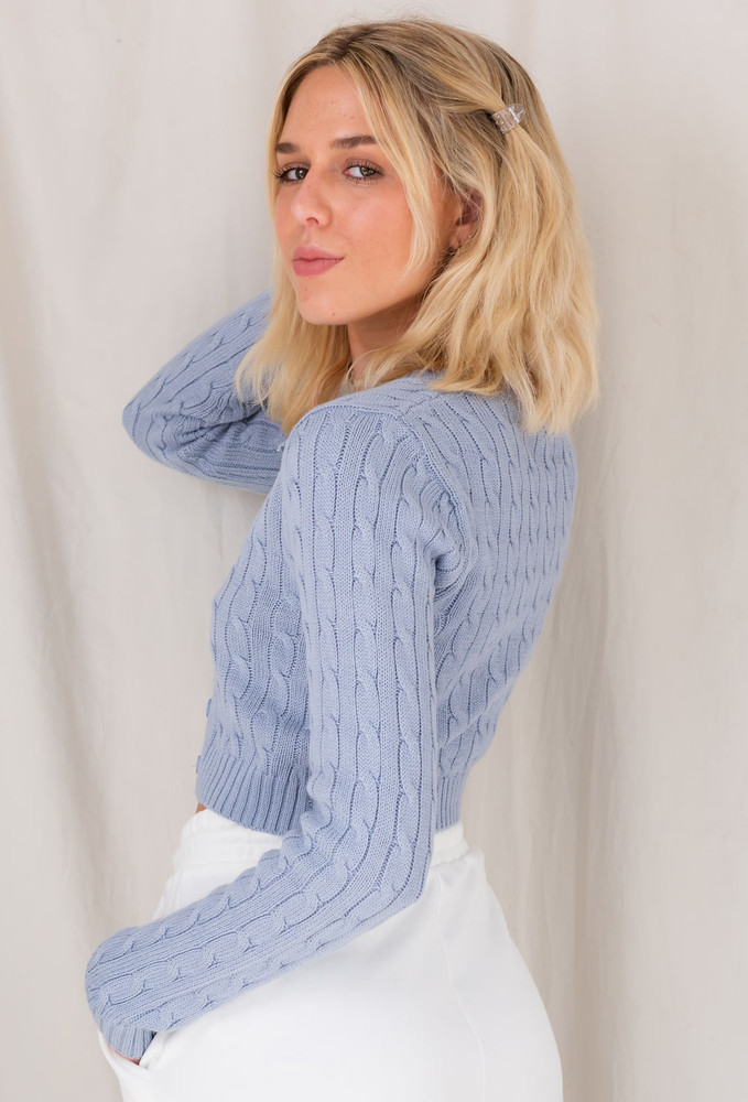 CALIstyle Italian Days Cable Knit Cardigan In Blue