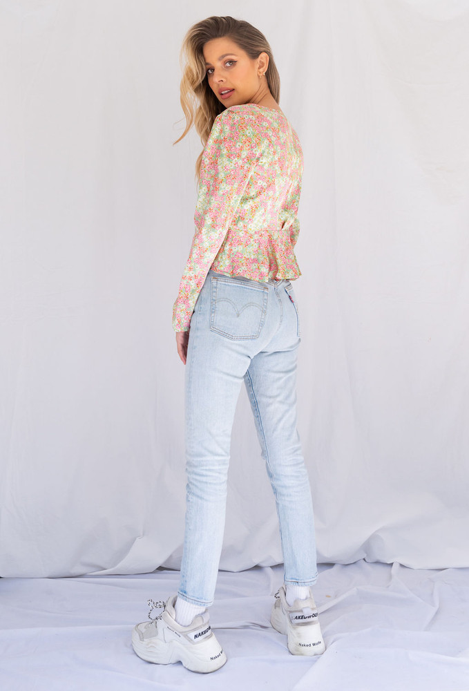 CALIstyle Change Of Season Tie Top In Pink Floral - Restocked