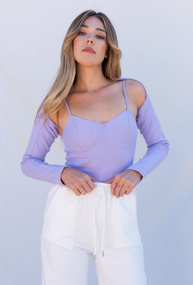CALIstyle Love Is In The Air Shrug Set In Lavender