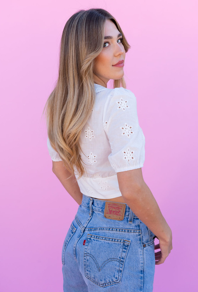 CALIstyle Love Letter Crop Top In White Eyelet