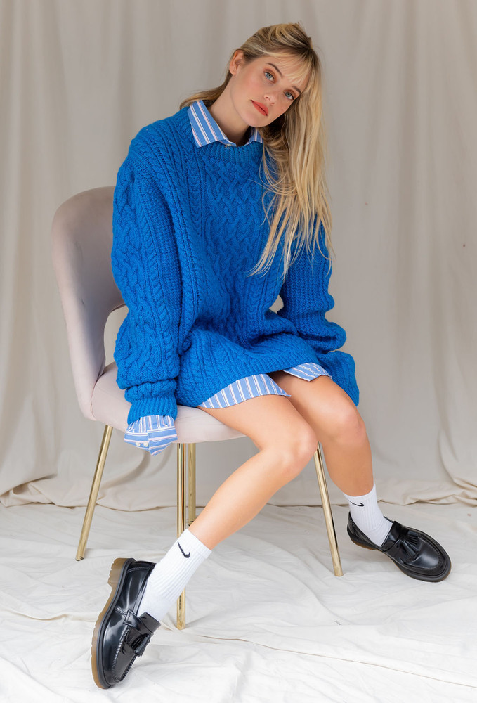 Vintage x Resurrection Hand Knit Oversized Chunky Sweater In Royal Blue