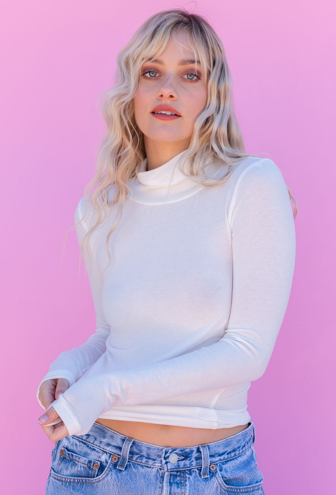 CALIstyle Layered Up Roll Neck Top In Off White