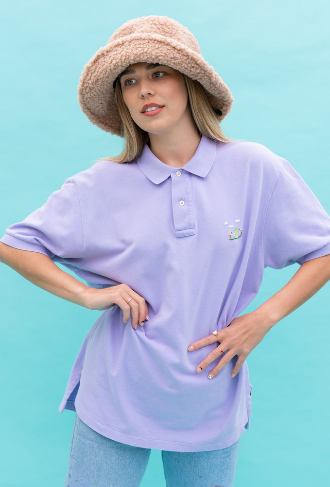 Vintage x Resurrection Hand Embroidered Polo Knit Shirt/Top In Lavender