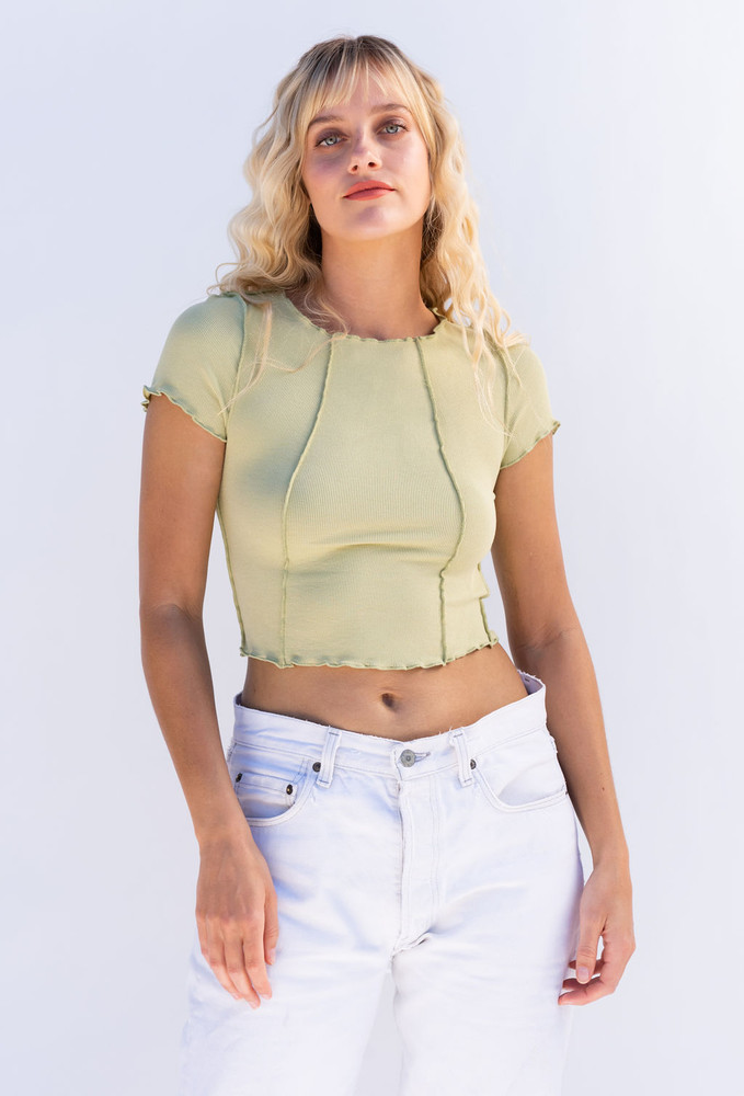 CALIstyle Inside Out Exposed Seam Ribbed Top In Kiwi