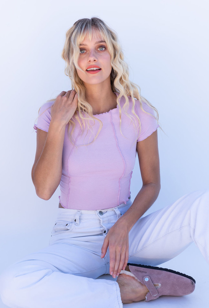 CALIstyle Inside Out Exposed Seam Ribbed Top In Lavender