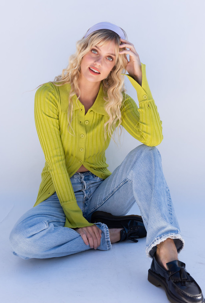 CALIstyle Lucy In The Sky Ribbed Long Sleeve Knit Top In Kiwi Green