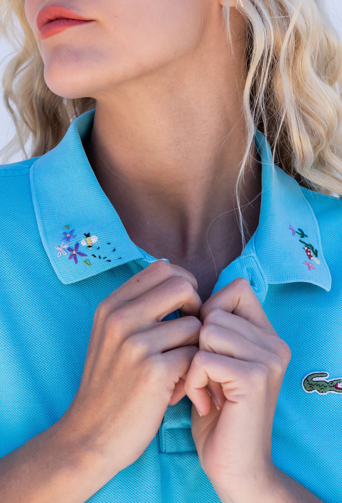 Vintage x Resurrection Hand Embroidered Lacoste Polo Knit Top In Turquoise Blue