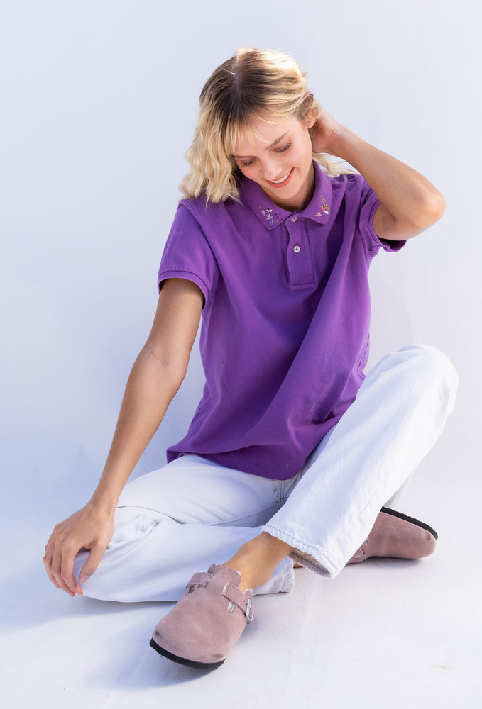 Vintage x Resurrection Hand Embroidered Lacoste Polo Knit Top In Deep Lavender