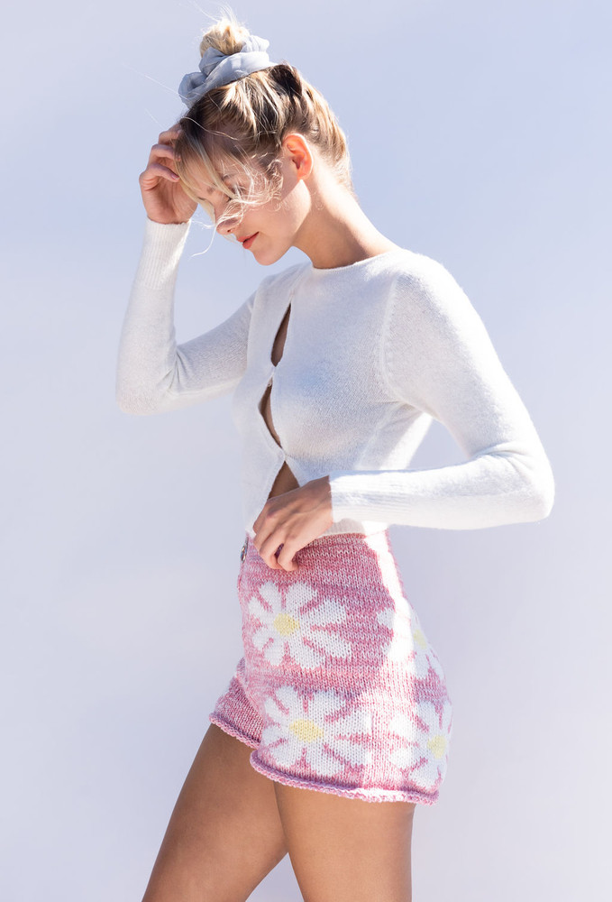 CALIstyle Nights Winter Crop Knit Top In Off White